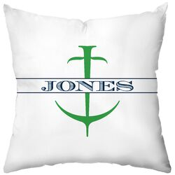 Personalized Anchor Poly Cotton Throw Pillow