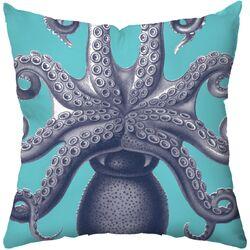 Octopus Poly Cotton Throw Pillow