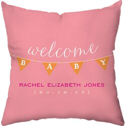 Personalized Baby Banner Poly Cotton Throw Pillow