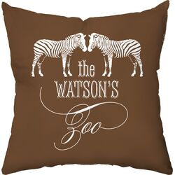 Personalized Zoo Poly Cotton Throw Pillow