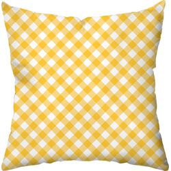 Gingham Poly Cotton Outdoor Throw Pillow