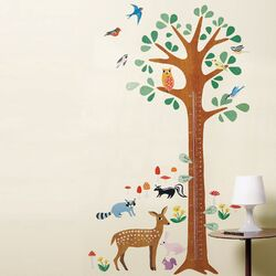 Woodland Growth Chart Interactive Vinyl Peel and Stick Wall Mural