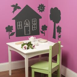 House and Trees Chalkboard Mural