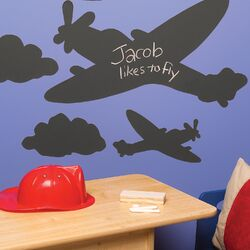 Planes and Clouds Chalkboard Mural