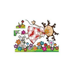 Ludo Lou in Flowers Wall Decal