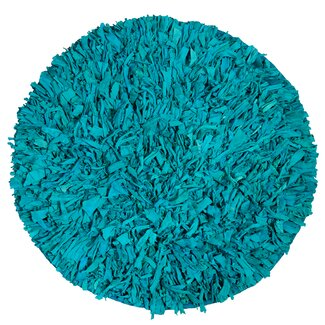 IXI Calypso Cotton Jersey Aqua Shag Round Rug