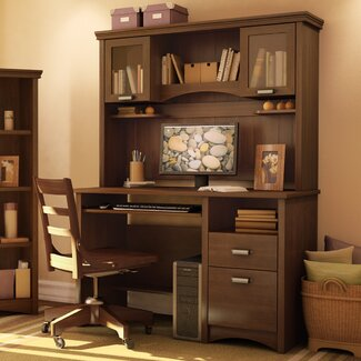 South Shore Gascony Desk and Hutch in Sumptuous Cherry