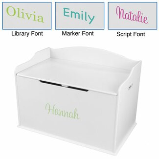 KidKraft Personalized Austin Toy Box in White - 14951