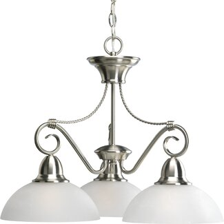 CHANDELIER WITH ETCHED GLASS GLOBES
