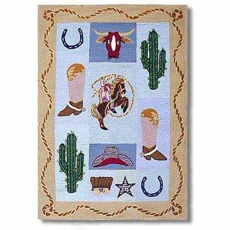 Cowboy Wool Novelty Medium Rectangular Kids Rug