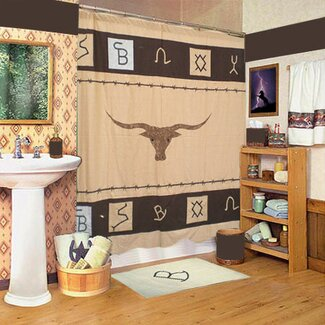 Patch Magic Cattle Brand Western Shower Curtain from Wayfair!