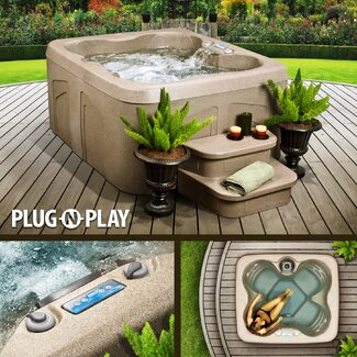 LifeSmart Rock Solid Simplicity Plug and Play Spa with 12 High Therapy Jets, 4 Person Capacity, ECO SMART technology,