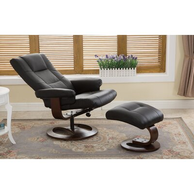 Cecilwood I-Comfy Manual Swivel Recliner with Ottoman Upholstery: Black
