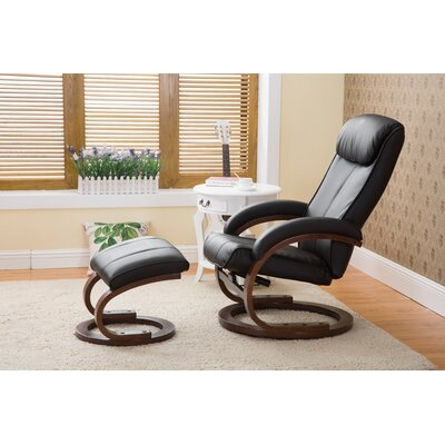 Cedarfields I-Rest Manual Swivel Recliner with Ottoman Upholstery: Black