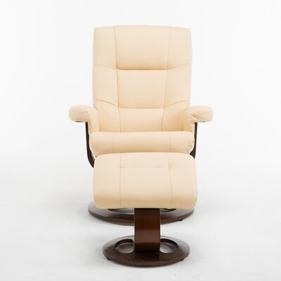Cecilwood I-Comfy Manual Swivel Recliner with Ottoman Upholstery: Tan