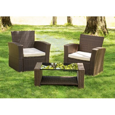 Hope 3 Piece Rattan Conversation Set with Cushions