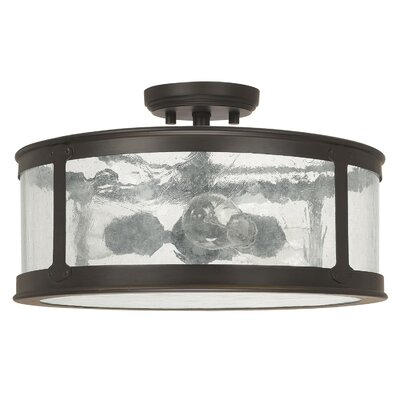 Calvin 3-Light Old Bronze Semi-Flush Mount