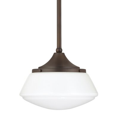 1-Light Mini Pendant Finish: Burnished Bronze, Shade Color: Frosted