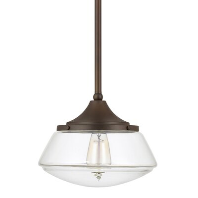 1-Light Mini Pendant Finish: Burnished Bronze, Shade Color: Clear