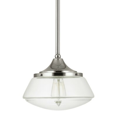 1-Light Mini Pendant Finish: Polished Nickel, Shade Color: Clear