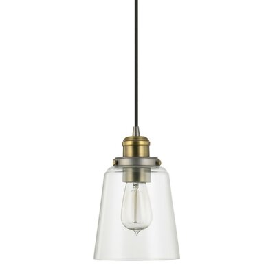1-Light Mini Pendant Finish: Aged Graphite with Brass