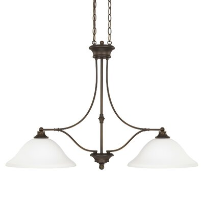 Belmont 2-Light Kitchen Island Pendant Shade: White (Cream when Lit), Finish: Burnished Bronze