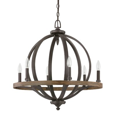 Brayden 6-Light Candle-Style Chandelier Finish: Iron Oak