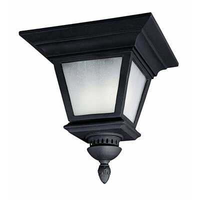 Brookwood 3-Light Outdoor Flush Mount Bulb Type: Incandescent, Finish: Black