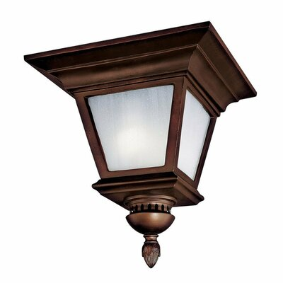 Brookwood 3-Light Outdoor Flush Mount Bulb Type: Incandescent, Finish: Burnished Bronze