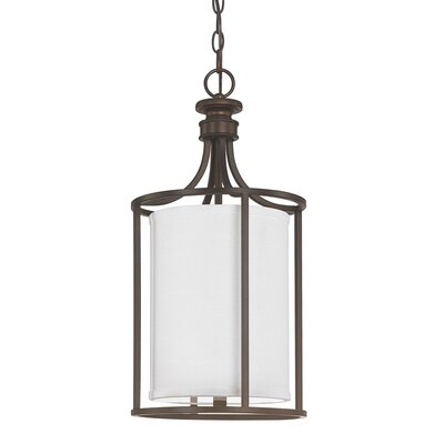 Lawley 2-Light Foyer Pendant Finish: Burnished Bronze, Size: 28 H x 14 W x 14 D, Shade Color: Beige