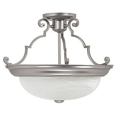 Jeffrey 14 3-Light Semi Flush Mount Finish: Matte Nickel