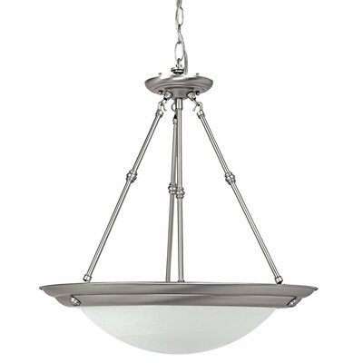 3-Light Inverted Pendant Bulb Type: Incandescent, Finish: Matte Nickel, Size: 20.75 H x 20 W x 20 D