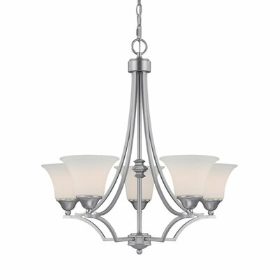 Towne and Country Five Light Chandelier in Matte Nickel