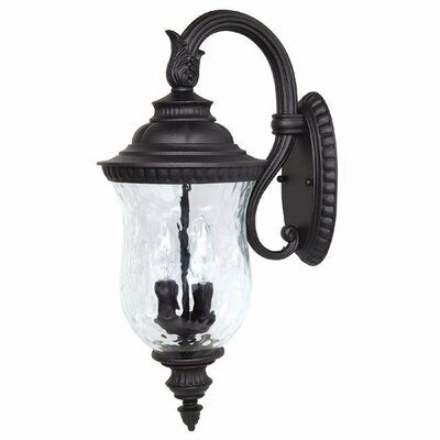 Ashford Two Light Outdoor Arm Up Wall Lantern in Black