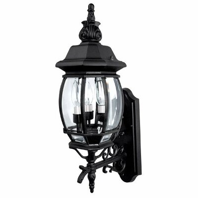 French Country 3-Light Outdoor Wall Lantern Finish: Black