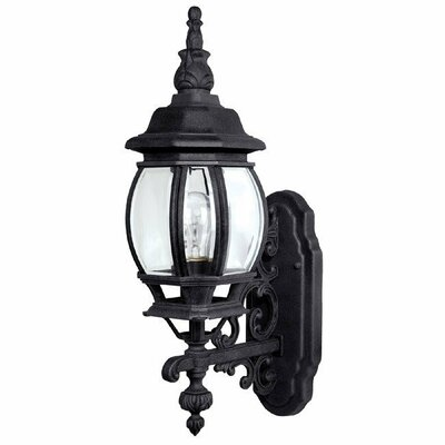French Country One Light Outdoor Wall Lantern with Clear Glass in Black