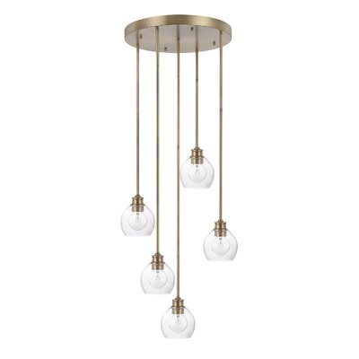 Tyngsborough 5-Light Cluster Pendant Finish: Aged Brass