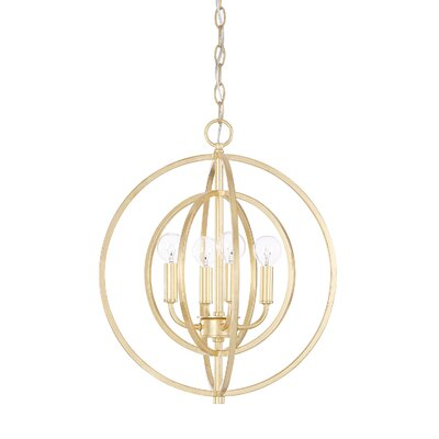 Kaye 4-Light Geometric Pendant Finish: Gold Leaf