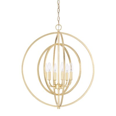Kaye 6-Light Geometric Pendant Finish: Gold Leaf