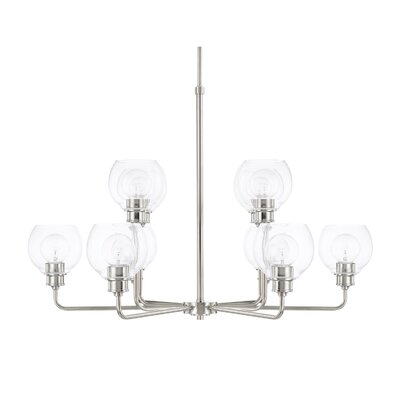 Maria 10-Light Shaded Chandelier Finish: Polished Nickel