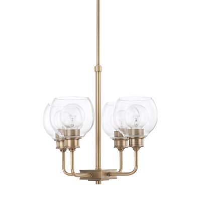 Maria 4-Light Shaded Chandelier Finish: Aged Brass