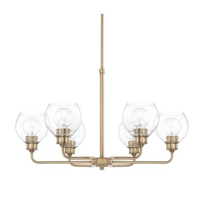 Tyngsborough 6-Light Shaded Chandelier Finish: Aged Brass