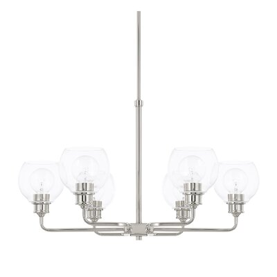 Tyngsborough 6-Light Shaded Chandelier Finish: Polished Nickel