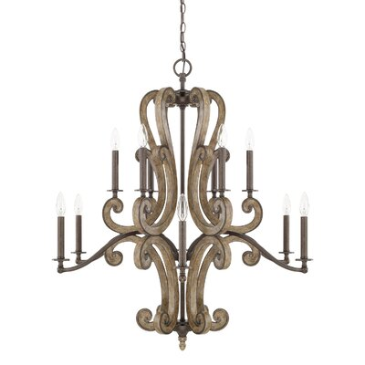Basswood 12-Light Candle-Style Chandelier