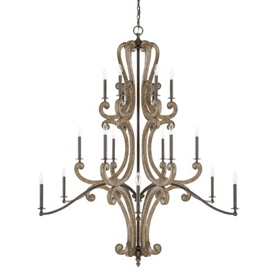 Basswood 18-Light Candle-Style Chandelier