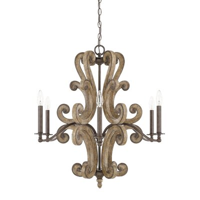 Basswood 6-Light Candle-Style Chandelier