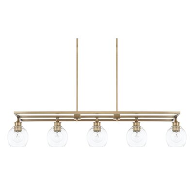 Tyngsborough 5-Light Kitchen Island Pendant Finish: Aged Brass