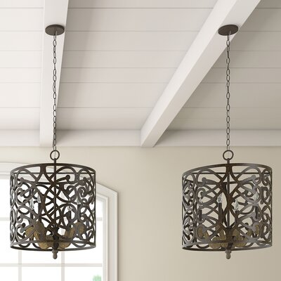 Basswood 4-Light Drum Pendant