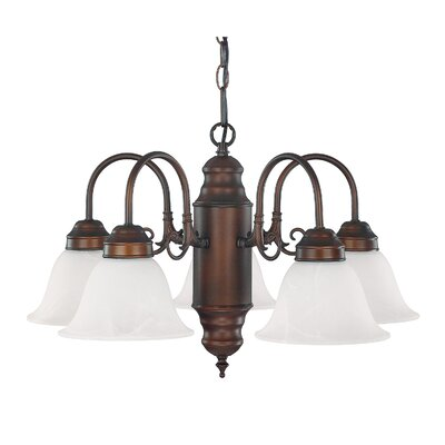 5-Light Shaded Chandelier Glass Color: White