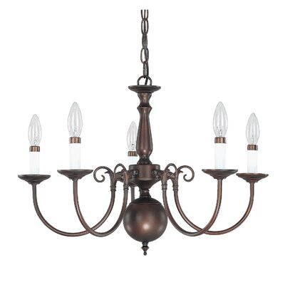 5-Light Candle-Style Chandelier Finish: Burnished Bronze